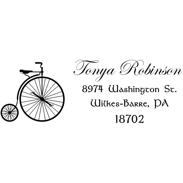 Robinson Vintage Bicycle Return Address Stamp