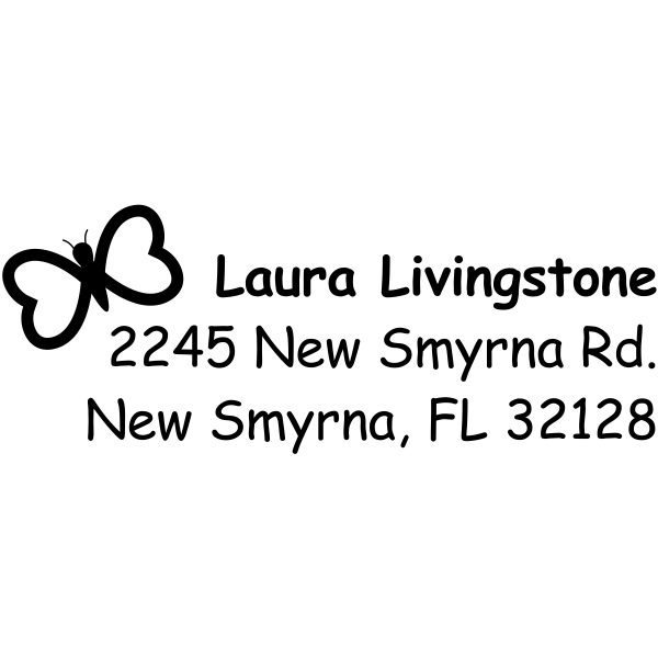 Heart Butterfly Return Address Stamp