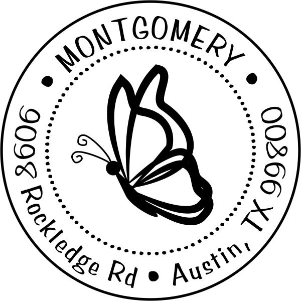 Floating Butterfly Return Address Stamp