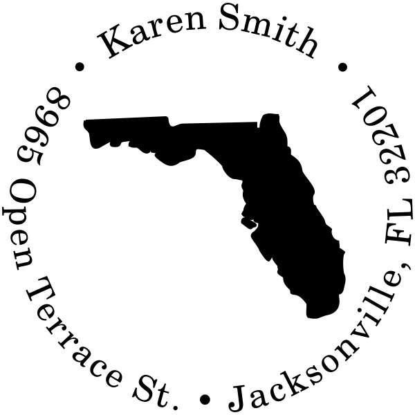 Florida Round Address Stamp