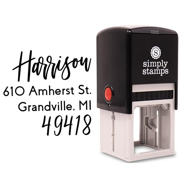 Harrison Hand Lettered Address Stamp