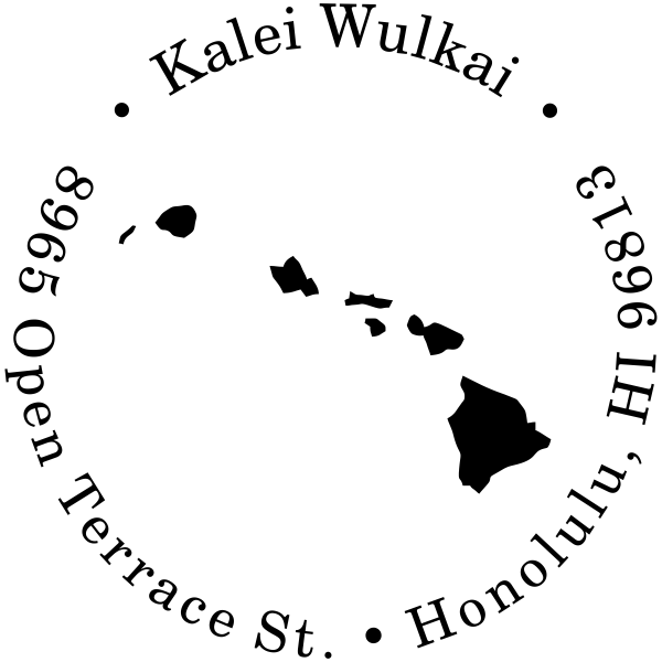 Hawaii Round Address Stamp