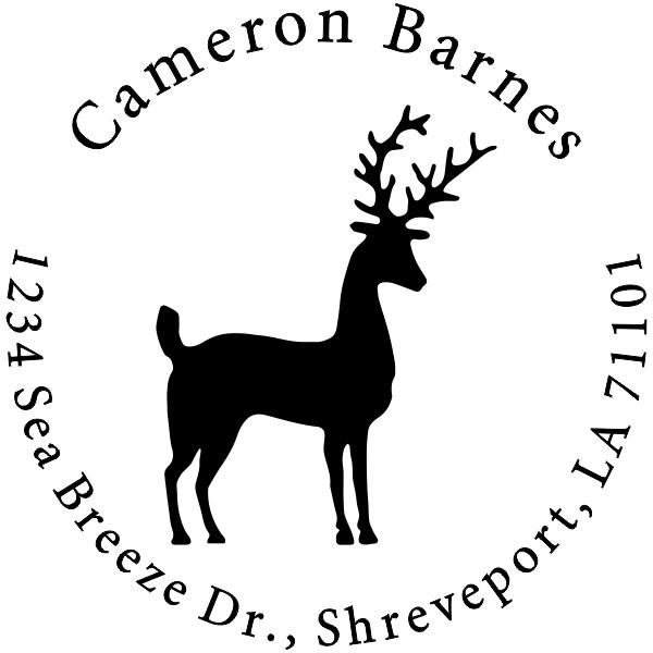Stag Reindeer Return Address Stamp