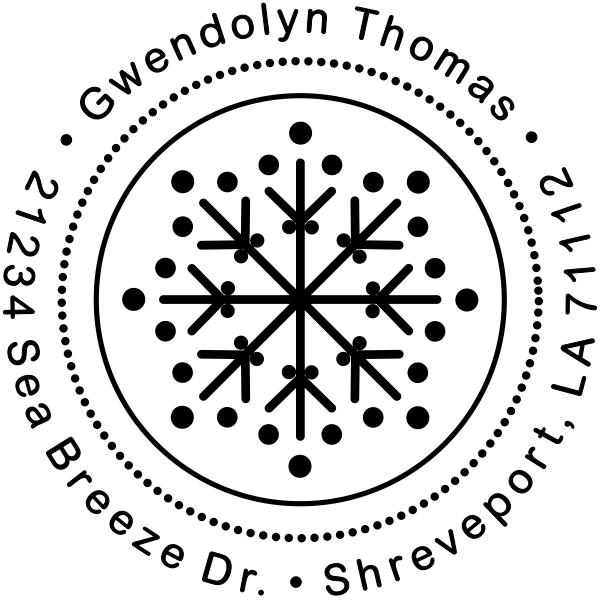 Dotted Snowflake Return Address Stamp
