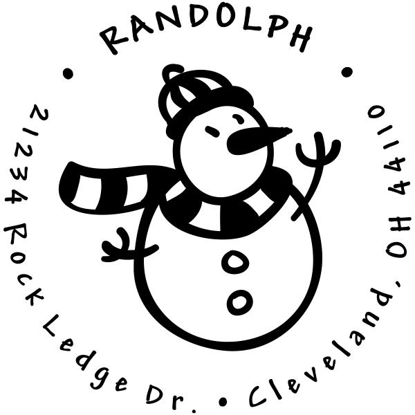 Scarved Snowman Return Address Stamp