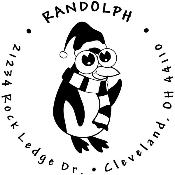 Big Eyed Penguin Return Address Stamp