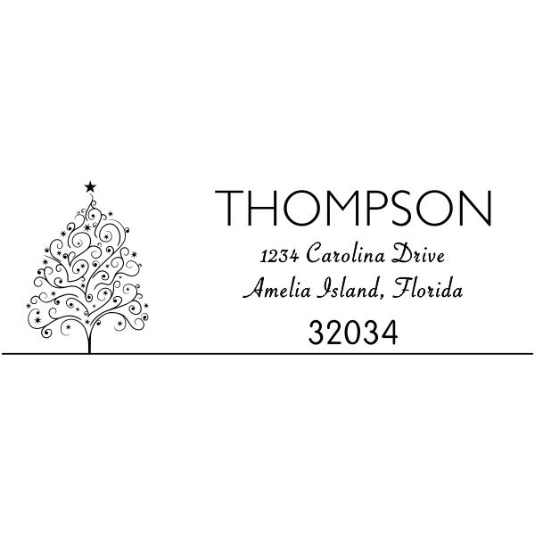 Curly Christmas Tree Return Address Stamp