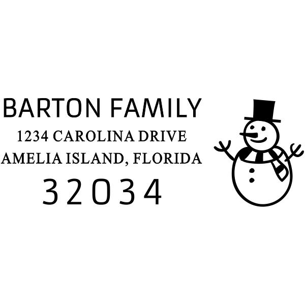 Snowman Rectangle Address Stamp