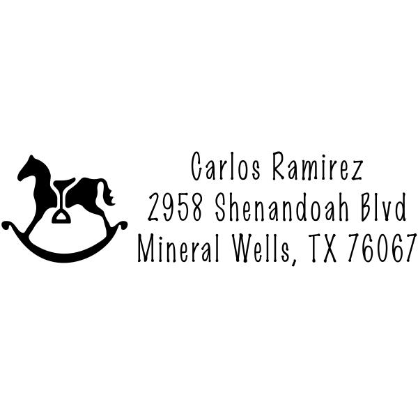Rocking Horse with Stirrup Address Stamp