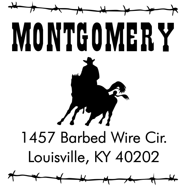 Roping Cowboy Square Address Stamp