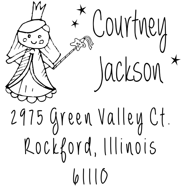 Fairy Princess Doll Return Address Stamp
