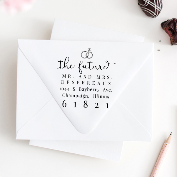 Future Mr. and Mrs. Rings Address Stamp
