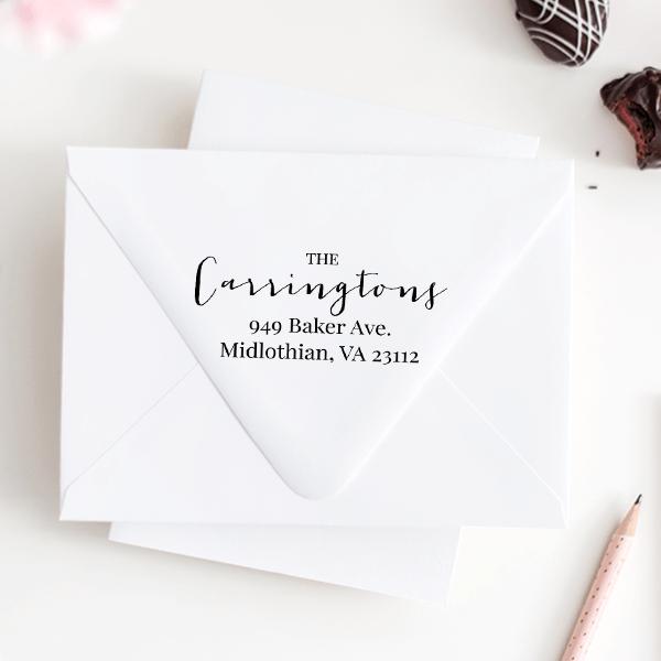 Delicate Calligraphy Wedding Address Stamp