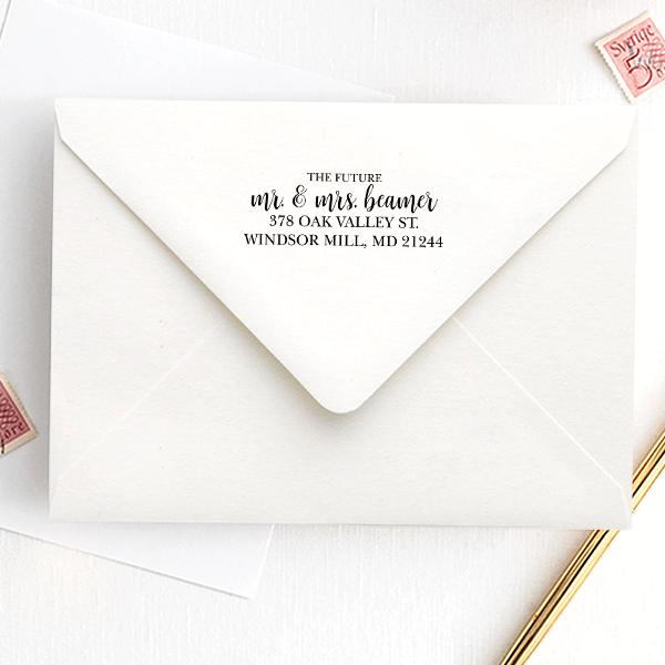 Future Mr. and Mrs. Script Address Stamp