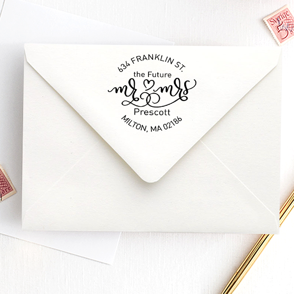 Future Mr. and Mrs. Heart Round Address Stamp