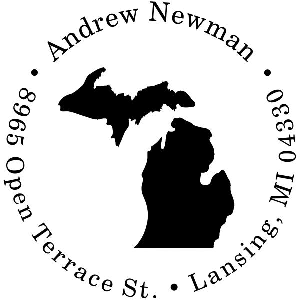 Michigan Round Address Stamp