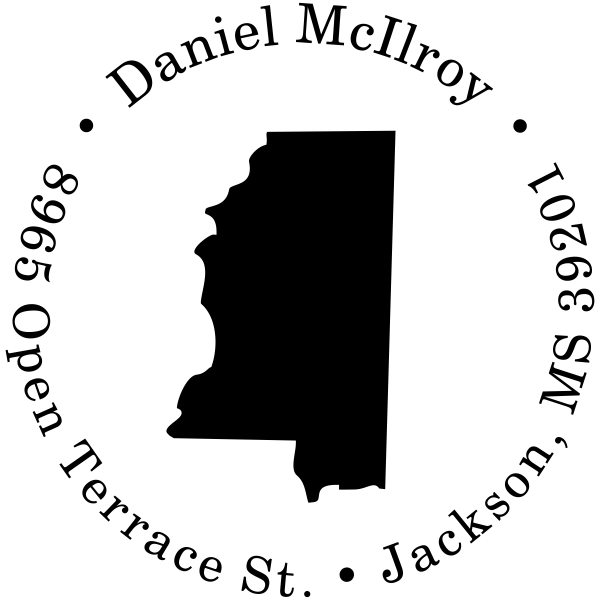 Mississippi Round Address Stamp