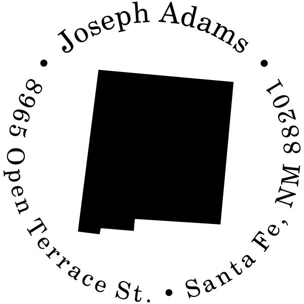 New Mexico Round Address Stamp