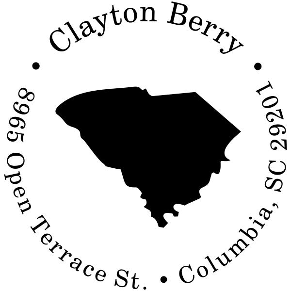 South Carolina Round Address Stamp