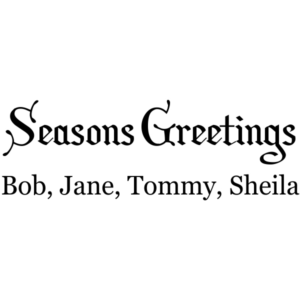 Season Greetings Family Rubber Stamp