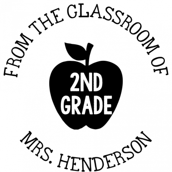 Apple Grade 'From the Classroom of' Teacher Stamp