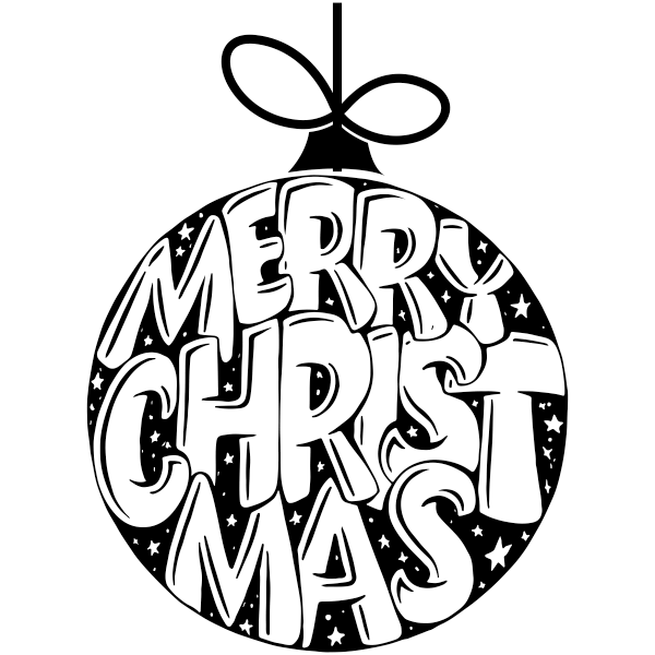 """Merry Christmas Text Ornament Craft Stamp 
