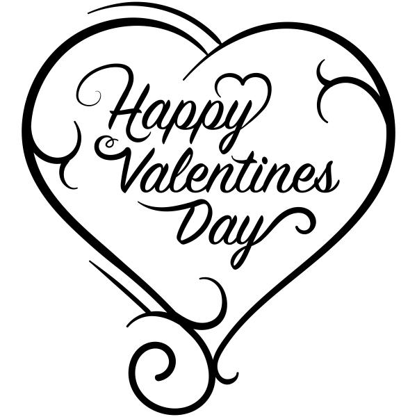 Happy Valentines Scroll Heart Craft Stamp