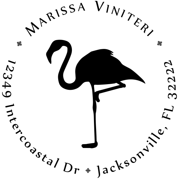 Flamingo Return Address Stamp