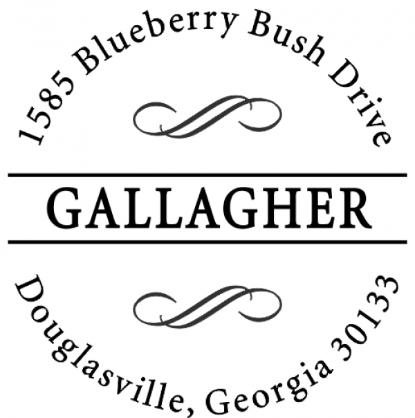 Gallagher Swirly Deco Return Address Stamp