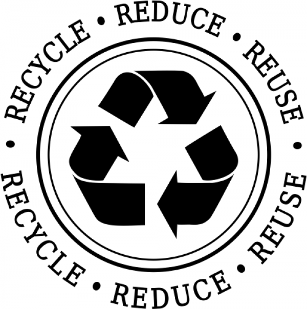 Reduce Reuse Recycle Round Rubber Stamp