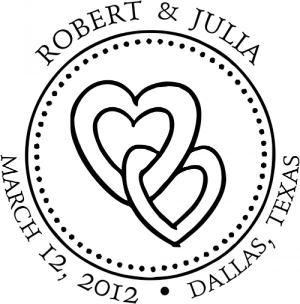 Linked Hearts Round Wedding Stamp