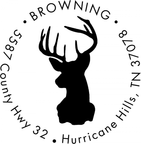 Deer Buck Round Animal Return Address Stamp