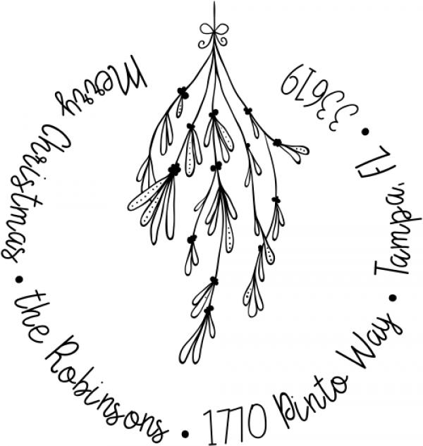 Mistletoe Round Script Christmas Return Address Stamp
