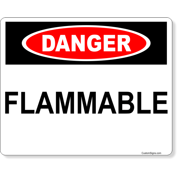 """Danger Flammable Full Color Sign   8"""" x 10"""""""