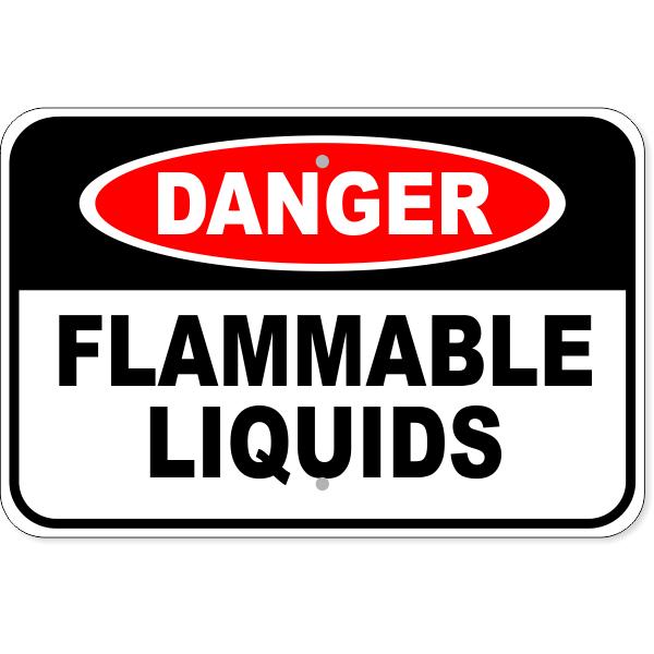 "Danger Flammable Liquids Aluminum Sign   12"" x 18"""