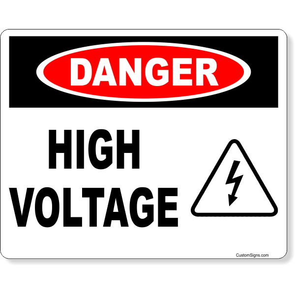 """Danger High Voltage Icon Full Color Sign   8"""" x 10"""""""
