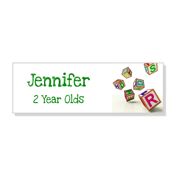 Day Care Blocks School Name Tag