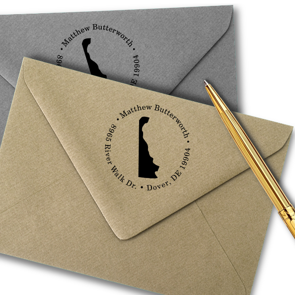 Delaware Round Address Stamp Imprint Example