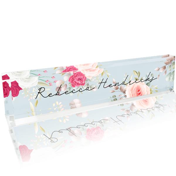 Floral Full Color Acrylic Desk Block