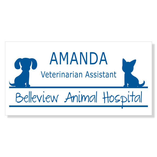Dog and Cat Sitting On Line Veterinary Name Tag