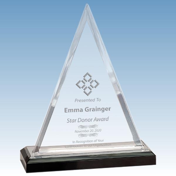 Donation Goal Beveled Triangle Acrylic Award