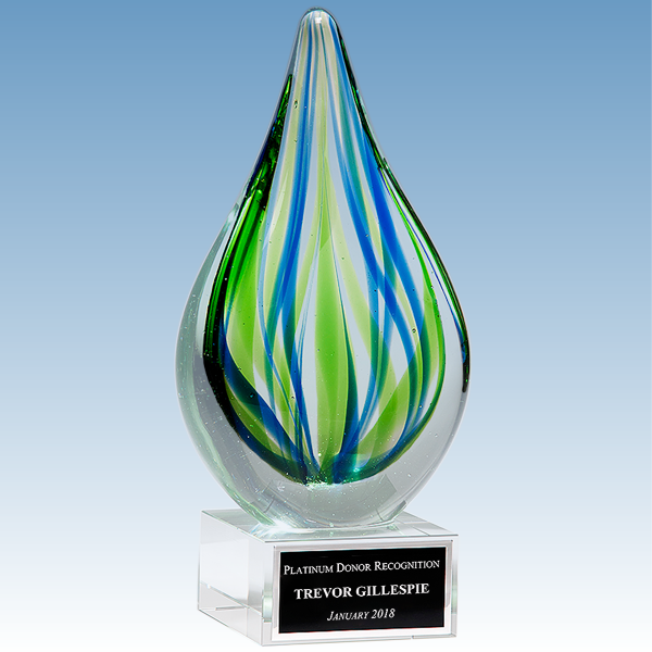 Donor Recognition Blue-Green Droplet Shaped Art Glass Award