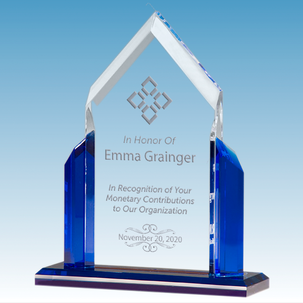 Donor Recognition Peak Series Clear Acrylic Award w/ Blue Accents