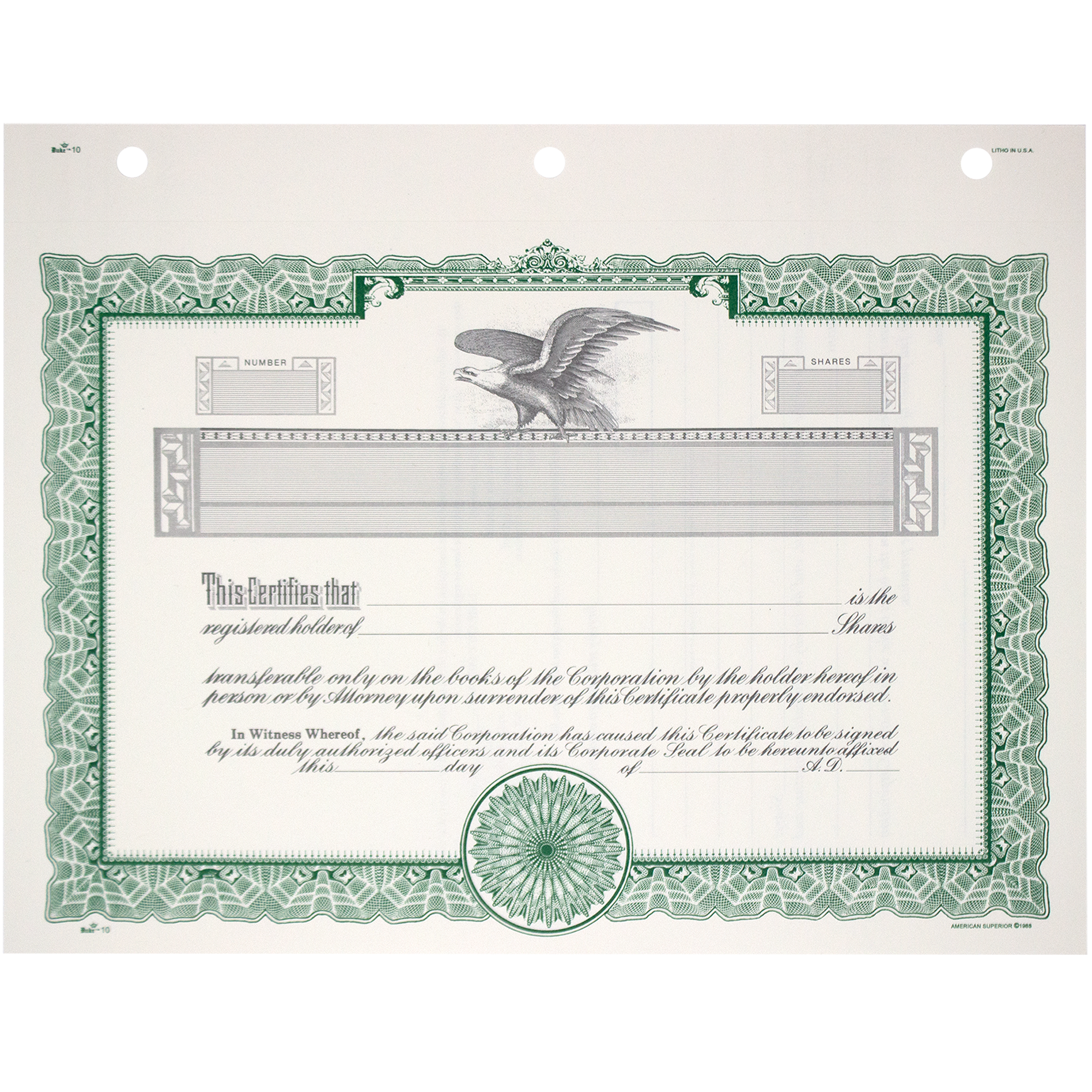 Duke 10 Blank Stock Certificates | Quantity of 20 or More