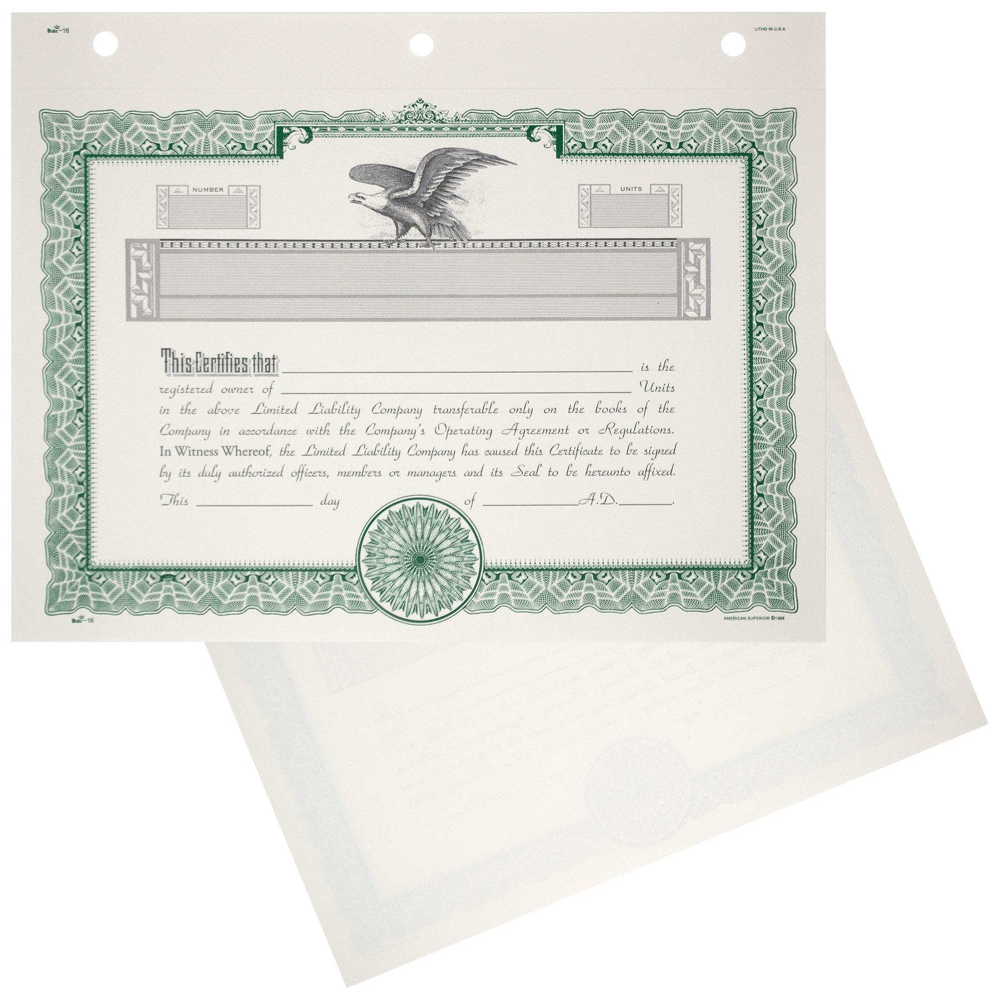 Duke 16 LLC Blank Membership Certificates | Quantity of 20 or More