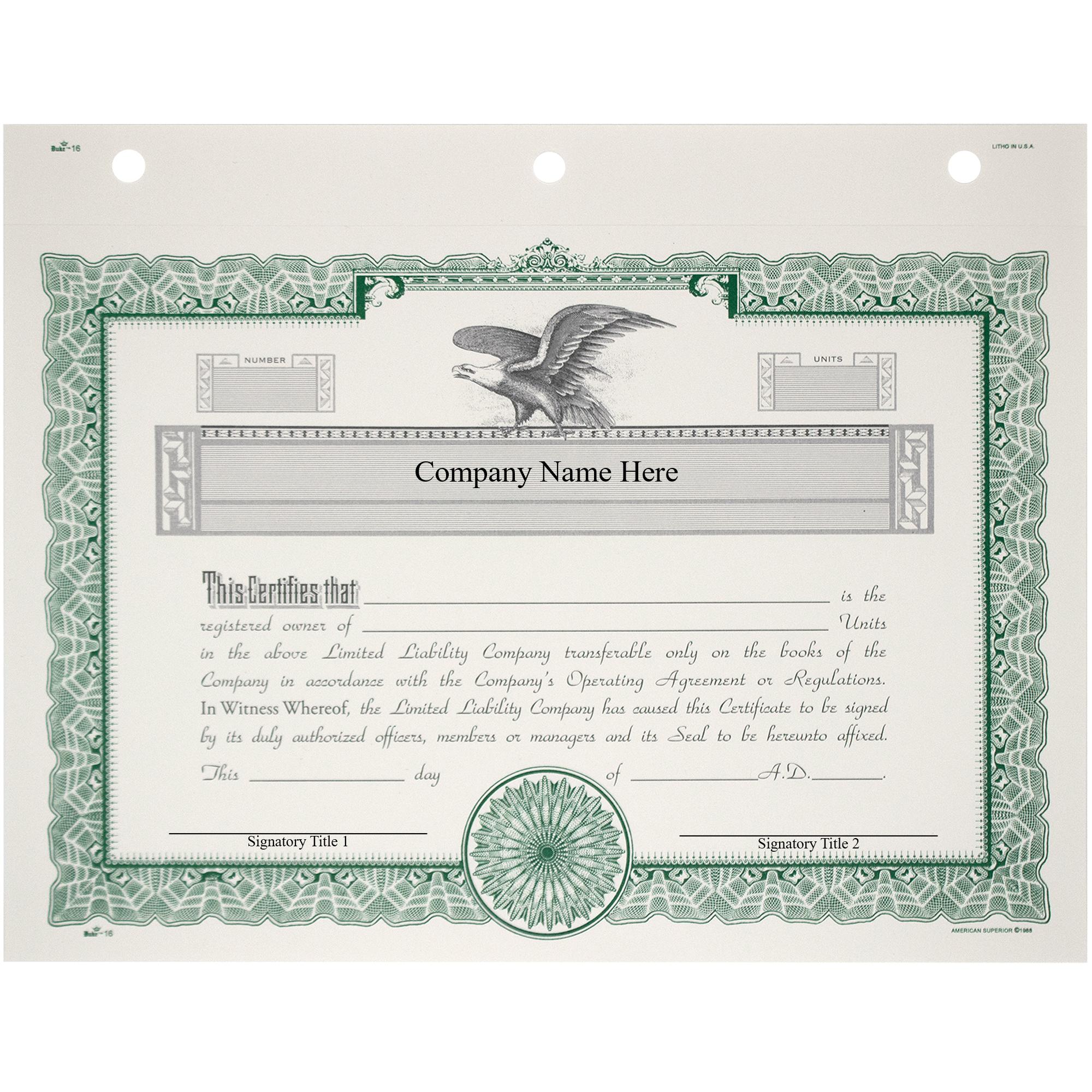 Duke 16 LLC Membership Certificates | Quantity of 20 or More