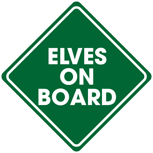 Elves on Board Holiday Window Decal   5x5