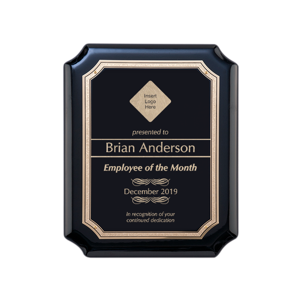 Employee of the Month Gloss Black and Gold Wall Plaque with Scalloped Corners