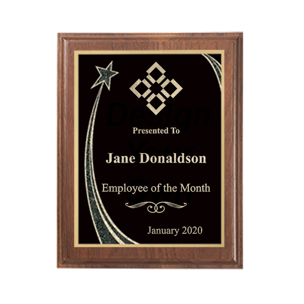 Employee of the Month Rising Star Walnut Plaque