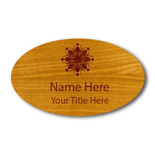 """Engraved Oval Wood Name Tag   1 ¾"""" x 3"""""""